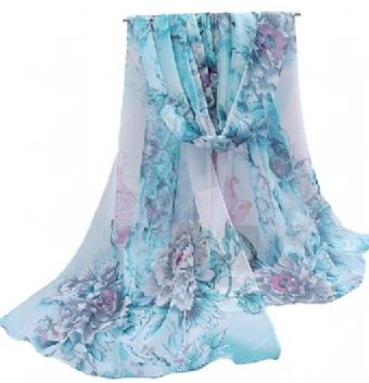 Scarf - Long Blue/Pink